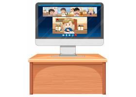 学生在计算机屏幕上在线屏幕在白色的网上屏_11770770