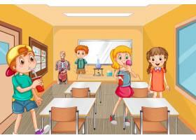 学生花时间在休息时间在教室里_16845715