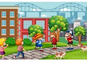 孩子们在操场上玩耍_11863211