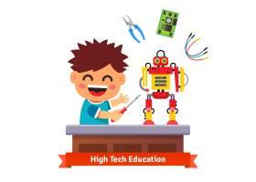 孩子正在制作自己的机器人_1311140