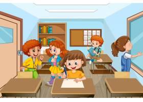 与许多孩子学习在教室里的场面_17622513