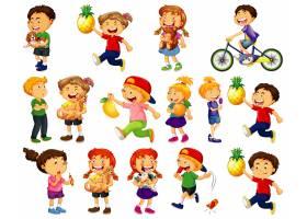 做不同的活动的孩子在白色背景设置了漫画人_13578159