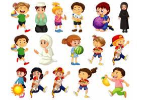 做不同的活动的孩子在白色背景设置了漫画人_16865555