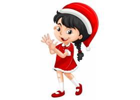 圣诞节服装漫画人物的逗人喜爱的女孩_11770956