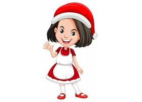 圣诞节服装漫画人物的逗人喜爱的女孩_12321543