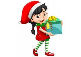 圣诞节服装的逗人喜爱的女孩拿着礼物盒漫画_11702128