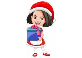 圣诞节服装的逗人喜爱的女孩拿着礼物盒漫画_12337338