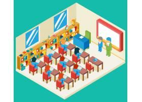 教育和学校类等量3d概念书架和老师学生_10600398