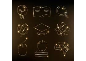 教育技术金图标矢量数字和科学图形集合_17223909
