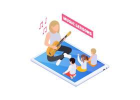 与老师的家庭教育例证弹吉他和孩子唱歌在网_17257116