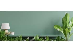 与绿色植物绿色墙壁和货架的室内墙壁样机_12843859