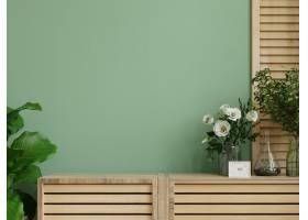与绿色植物绿色墙壁和货架的室内墙壁样机_15833261