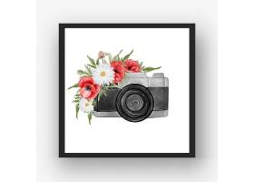 与花红色鸦片的照相机水彩_16305885