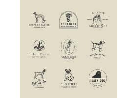 与葡萄酒狗集合的葡萄酒企业商标模板从艺_16357684