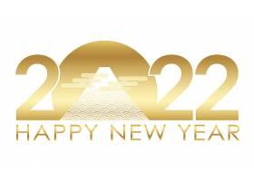 2022年新年与Mt富士的新年问候标志隔绝在白_16292528