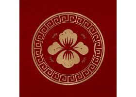 中国牡丹花徽章矢量黄金新年设计元素_16174634