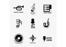 可编辑的平的音乐传染媒介商标设计在黑白设_16264690