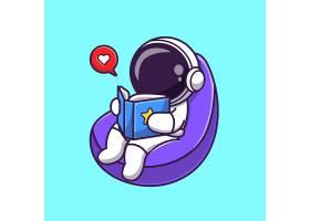 在豆袋动画片传染媒介象例证的宇航员阅读书_16551062