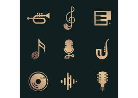 在黑色和金子的平的音乐传染媒介象设计集合_16264692