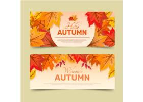 详细的秋天水平横幅设置_16134842