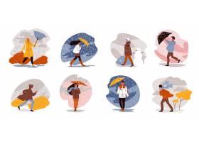 走与伞天气套的人们与多雨风景的被隔绝的组_16608004