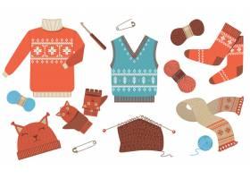 针织冬天和秋季季节性衣服图标套件_8271037