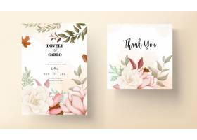 秋天花卉婚礼邀请卡与玫瑰和杉木花_17562650