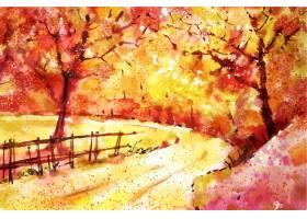 水彩秋天风景背景_9364229