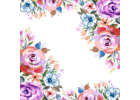 浪漫婚礼邀请与五颜六色的花卡片背景_16294235