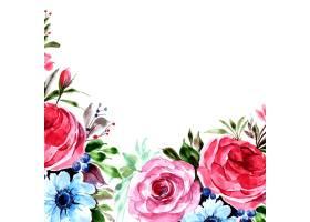 浪漫婚礼邀请与五颜六色的花卡片背景_16295324