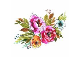 手凹道装饰五颜六色的花束水彩设计_16840933