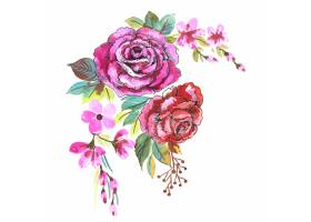 手凹道装饰五颜六色的花束水彩设计_16840955