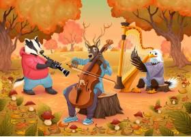 在木动画片和传染媒介例证的音乐家动物_1053766