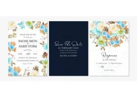 套与秋天叶子的花卉婚礼邀请卡片_17301886