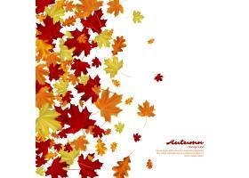 在白色背景的秋叶秋季矢量图_17127719