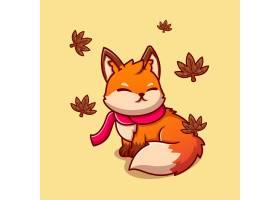 坐与围巾的逗人喜爱的狐狸在秋天动画片象例_13851667