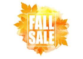 与五颜六色的水彩叶子的秋天销售横幅_14881530