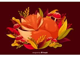 与叶子的平的秋天背景_5170813