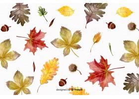 与叶子的水彩秋天背景_5137262