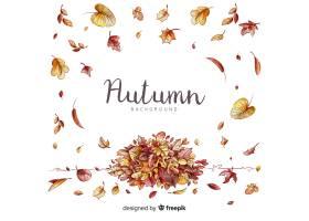 与叶子的水彩秋天背景_5170830
