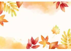 与叶子的水彩秋天背景_9221827
