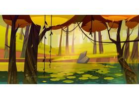 与沼泽的秋天风景在森林里_12332077