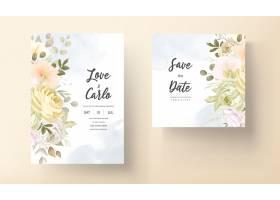 与温暖的软的秋天秋天花卉的婚礼邀请卡片_17302339