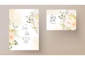 与温暖的软的秋天秋天花卉的婚礼邀请卡片_17302379