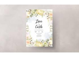 与温暖的软的秋天秋天花卉的婚礼邀请卡片_17302427