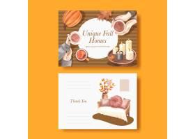 与秋天家庭舒适概念水彩样式的明信片模板_17786419