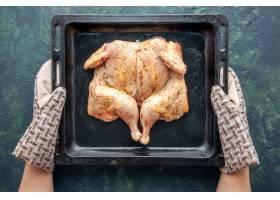 顶视图未加香料的鸡进入在深蓝色背景的烤箱_17231587