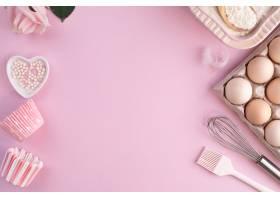 食物成份框架烘烤的在一个轻柔的桃红色淡色_13943519