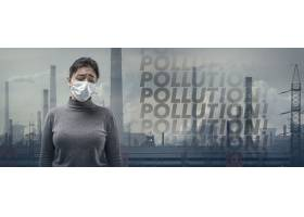 穿着呼吸道保护面膜的白种人妇女防止空气污_17248350