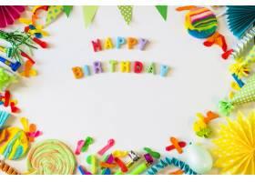 生日快乐文本高度看法与党辅助部件的在白色_3355693